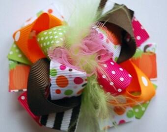 boutique MINI MOD funky fun bright THANKSGIVING hair bow clip