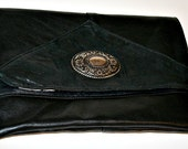 Recycled Upcycled Black Leather and Suede Clutch