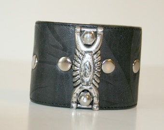 Recycled Floral Embossed Black Leather Cuff with Nickel Hardware
