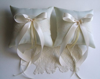 Pair Of  Ring Bearer Pillows BETHANY Wedding Choose Ivory or white &  Bow Color