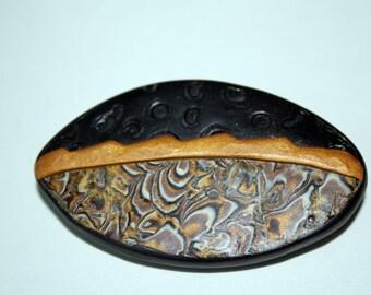 Mokume Gane Polymer Brooch