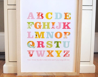 Patterned Alphabet Print Girl modern graphic nursery wall art poster - ready to ship - 8x10