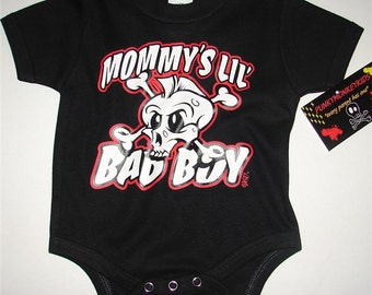 nwt black mohawk skull with wording mommys lil bad boy