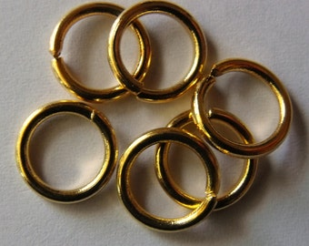 9mm Gold Plated, Jump Rings, 16 Gauge, Round, Open, Pack of 50