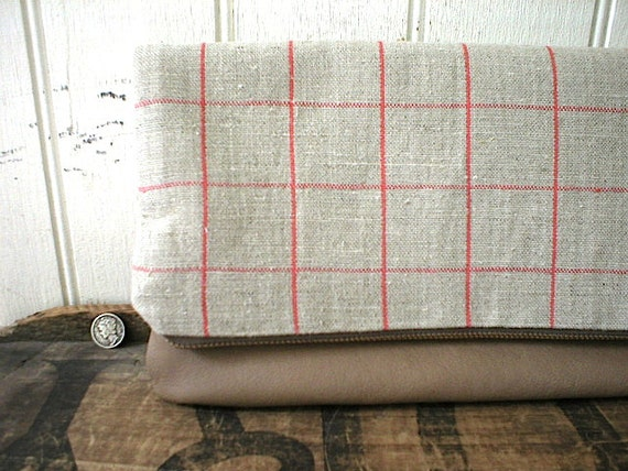 SALE Linen leather clutch, iPad case tangerine windowpane check - eco vintage fabric