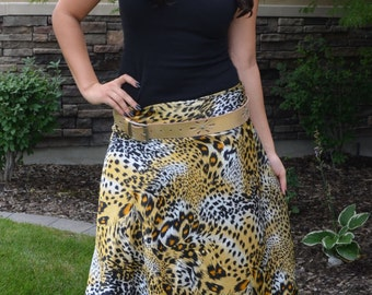 Silky Animal Print Multi-Wear Skirt  Size 0-12