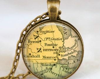 Detroit map necklace, Detroit map pendant, Detroit map jewelry , map pendant jewelry , gift for friends family someone special
