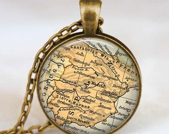 Spain map necklace, Spain map pendant, Madrid Spain jewelry ,  map pendant jewelry  with gift bag