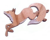 Running Fox Brooch, laser cut, laser etched, cherry wood, brooch, jewellery, jewelry, fox, woodland animal