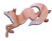 Running Fox Brooch, laser cut, laser etched, cherry wood, brooch, jewellery, jewelry, fox, woodland animal