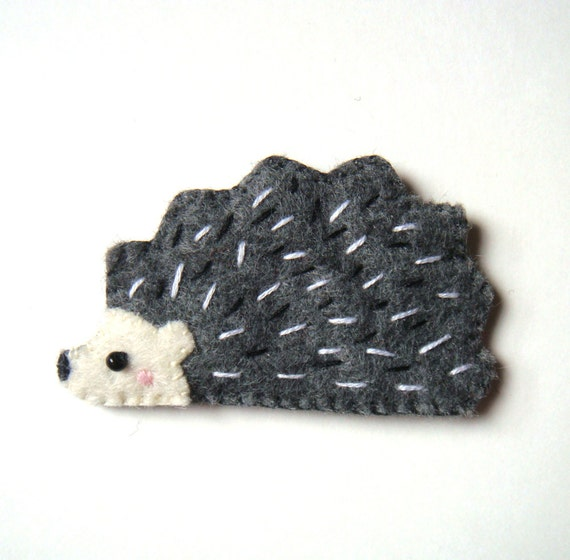 Hedgehog Felt Brooch Woodland Dark Blue Grey Cute Hedgehog Handmade Jewelry Fashion Accessory Christmas Holiday Gift for Hedgehog Lovers