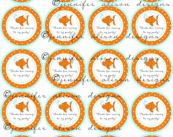 "INSTANT DOWNLOAD / Goldfish Fish 2"" printable Party Circles / Cupcake Topper / Stickers / Thank You Tags"