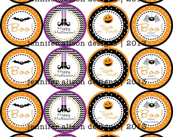 """SALE!!! INSTANT DOWNLOAD / Halloween Bat, Witch, Pumpkin, Spider 2"""" printable Party Circles / Cupcake Topper / Stickers / Thank You Tags"""