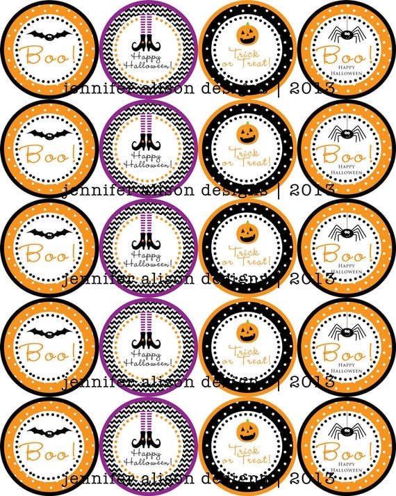 """INSTANT DOWNLOAD / Halloween Bat, Witch, Pumpkin, Spider 2"""" printable Party Circles / Cupcake Topper / Stickers / Thank You Tags"""