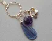 Kyanite Drop. Faceted Amethyst, Sterling Flower, Sterling Ring, Pendant