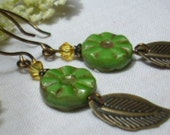 Green Glass Dangling Leaf Earrings, Yellow Swarovski Crystal, Rounded Handmade Ear Wires