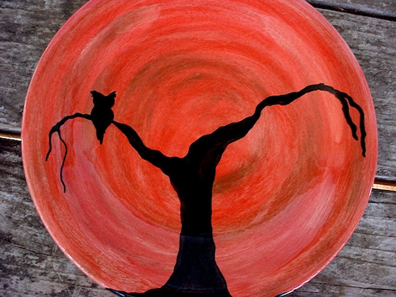 Autumn owl ceramic pottery dinner plate burnt orange moss green fall colors