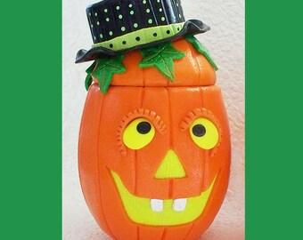 Pumpkin Jar made with polymer clay