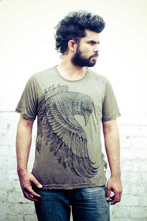 Mens Raven original art Olive Tshirt, hand screenprinted, detailed graphic, great gift for him