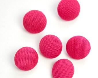 Vintage Bright Pink Silk Buttons 15mm btn002F
