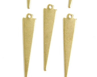 1 Loop Long Narrow Raw Brass Triangle Pendant Findings (8) mtl383A