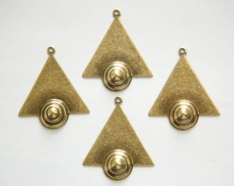 1 Loop Brass Ox Triangle Drops Charms with Raised Cone Details 26x23mm (6) mtl066F