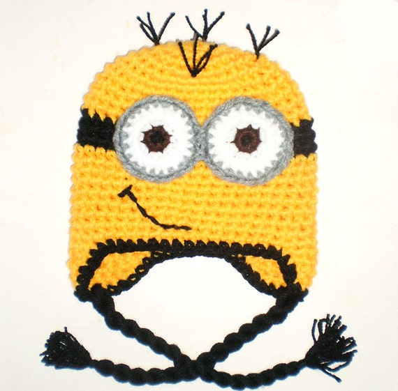 57bf4c7db1289 Despicable Me Minion Tassel Beanie Yellow Crochet Warm Winter Hat ...