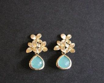 Seafoam Mint Glass Teardrop Earrings, Wedding, Bridesmaid