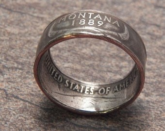 Coin Ring Montana made from a Copper Nickel Quarter Statehood jewelry great unique gift
