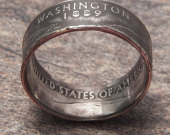 Coin Ring Washington made from a Copper Nickel Quarter Statehood jewelry great unique gift