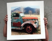 Chevy Old Brown Blue and Rust Pickup 'Out in the Field' - Antique farm vehicle photograph 8x8 10x10