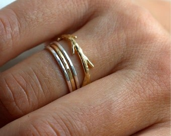 14k Gold and Silver Simple Twig Set   Stacking Rings   Nature Inspired Rings