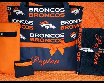 Baby Boy Or Girl Denver Broncos XL Diaper Bag Set With Changing Pad, Wipes Case and Pacifier Pouch