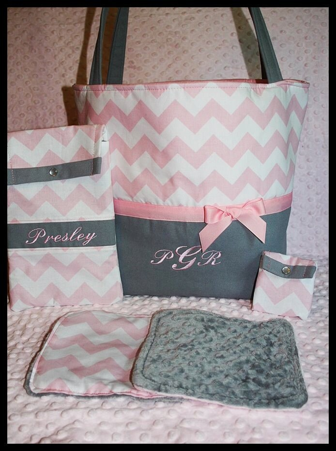 chevron tote setbaby bagbaby girl personalized diaper tote