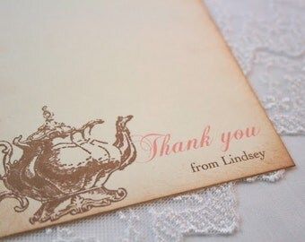 Tea Thank You Cards Personalized Stationery Set of 10 Vintage Teapot Bridal Shower