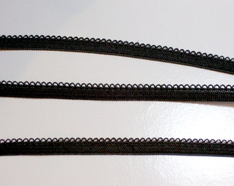 Black Elastic, Black Lace Edge Elastic Sewing Trim 1/4 inch wide x 10 yards