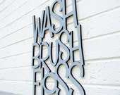 Wood Bathroom Sign, Wash Brush Floss Sign, Bathroom Quote Sign, Wood Wall Text Sign, Wood Text Home Decor, Wood Sayings Sign