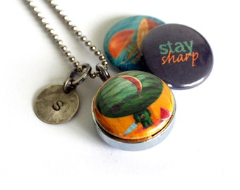 Watermelon Zombie Locket - Silver Steel, Magnetic Necklace, Orange, Stay Sharp by Polarity - Cuddly Rigor Mortis Collection