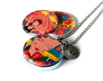 Mirror Locket - Flourish Locket - Colorful Locket - Stamped Locket - Flowers, Yoga - Magnetic Necklace -  Recycled by Polarity - Lori Portka