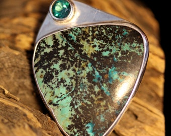 Chrysocolla and Green Topaz Sterling Silver Fine Art Jewelry Pendant