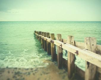 Beach photography, pastel, sea, ocean, Brighton Sussex, nautical decor, waves, weathered wood, English seaside, topaz, opal, turquoise