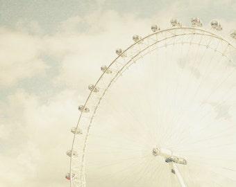 London Eye, travel, ferris wheel, cream, neutral decor, clouds, pastel, Thames, European, London photography, England