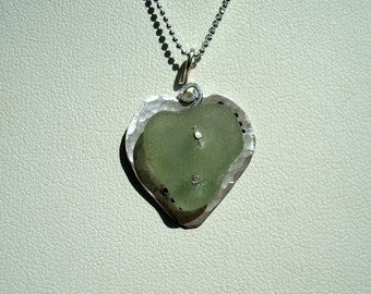 Sea Glass Necklace -Seafoam Riveted Heart - Sterling Silver Pendant