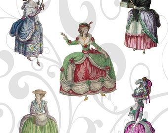 Vintage Ladies 6 Collage sheet and Individual Png Images