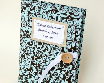 personalized baby book blue and brown damask photo album