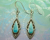 Vintage Sterling Silver Earrings - Turquoise - Style 7