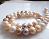 1/2 STRAND---Genuine Mauve/Gold Freshwater Round Pearls