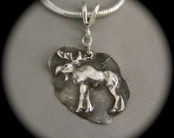 Rustic Moose Small Pendant - Recycled Silver on Sterling Silver Chain or Leather - Father's Day