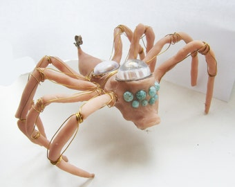 Fleshy Steampunk Articulated Spider Sculpture