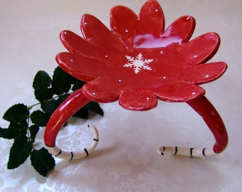 whimsical pottery Candleholder dish with curly striped legs:) white snowflake & cranberry red, Christmas decor, holiday entertaining